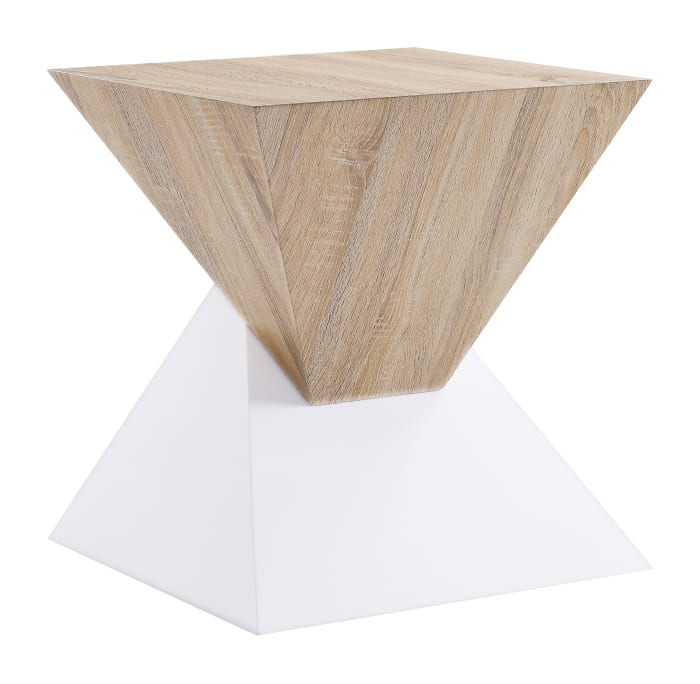 Square Shape with Pyramidal Base Wooden White and Brown Night Table