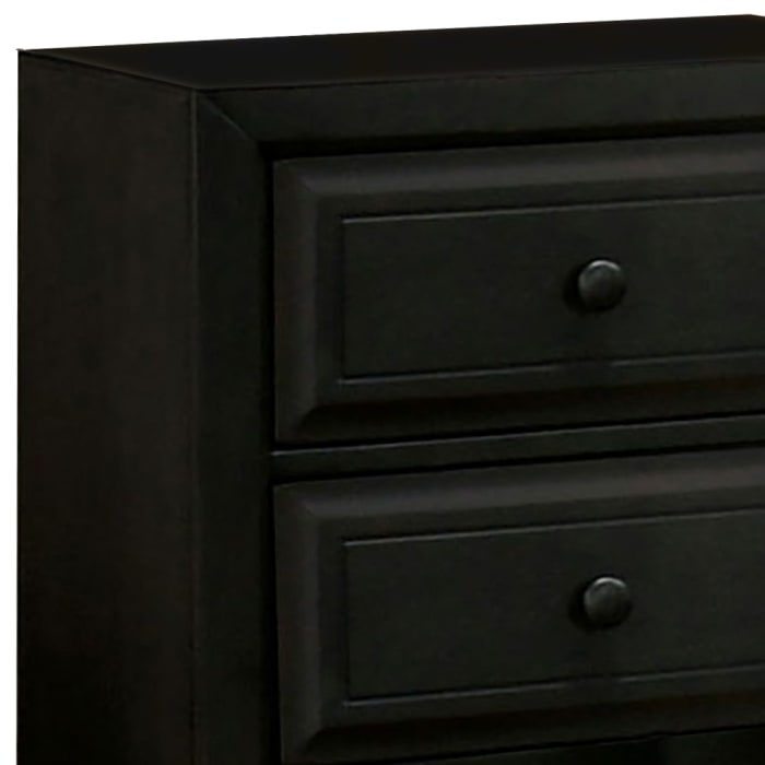 Transitional Molded Design 2-Drawer Wooden Black Nightstand