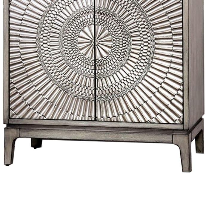 Transitional Circlet Motif 2-Door Wooden Gray Nightstand