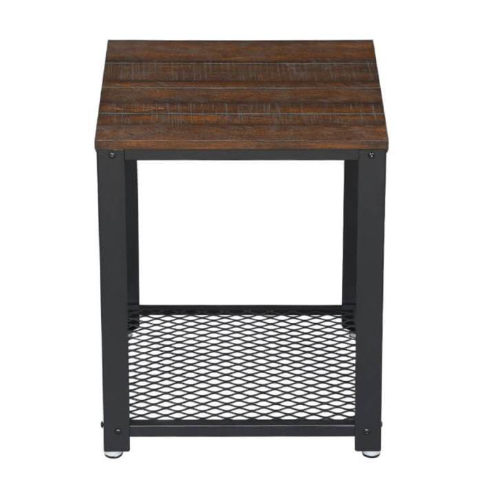 Wooden Top and Wire Mesh Open Shelf Iron Framed Brown and Black Nightstand
