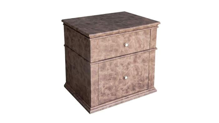2-Drawer Leather Upholstered Wooden Brown Nightstand