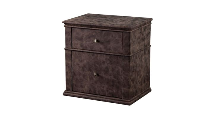2-Drawer Leatherette Upholstered Wooden Brown Nightstand