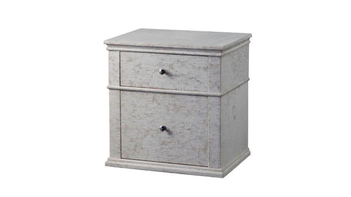 2-Drawer Fabric Upholstered Wooden  Light Gray Nightstand