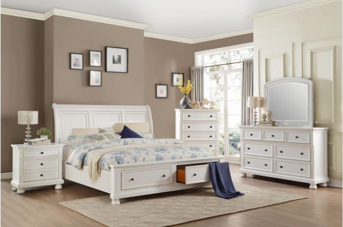 Transitional Round Bun Legs 2-Drawer Wooden White Nightstand