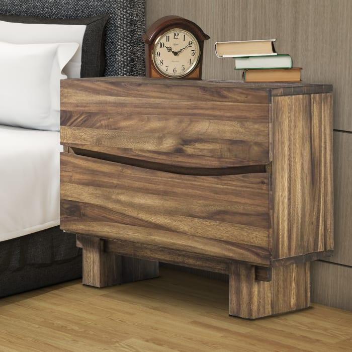 2-Drawer Wooden Brown Nightstand
