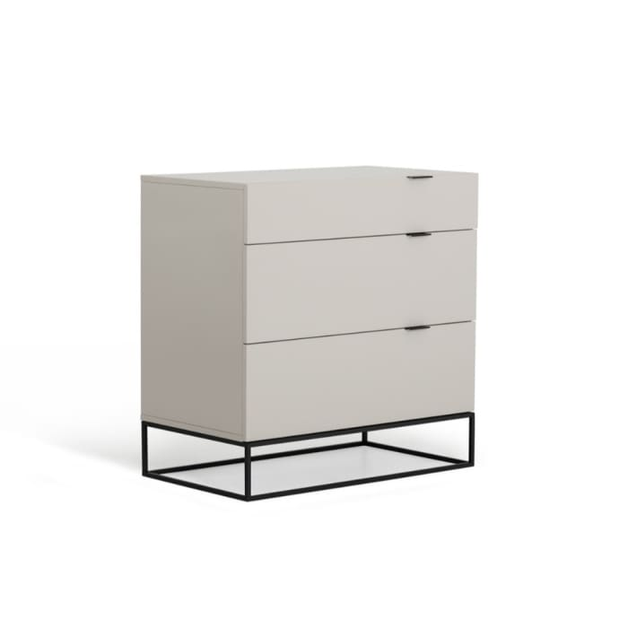 3-Drawer White and Black Wood and Metal Dresser