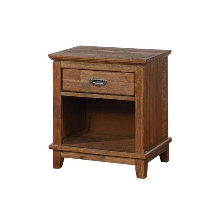Block Feet And Metal Pull Solid Wood Brown Nightstand