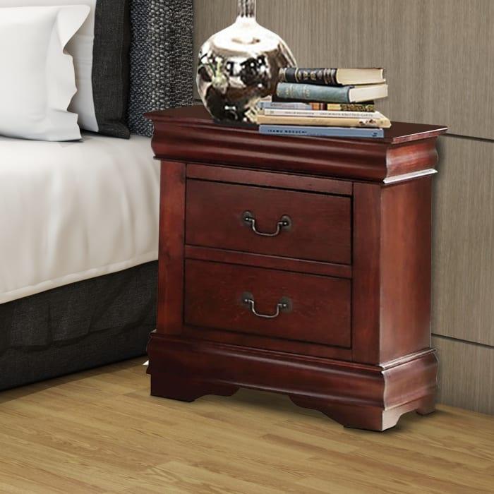 2-Drawer Cherry Brown Wooden Nightstand