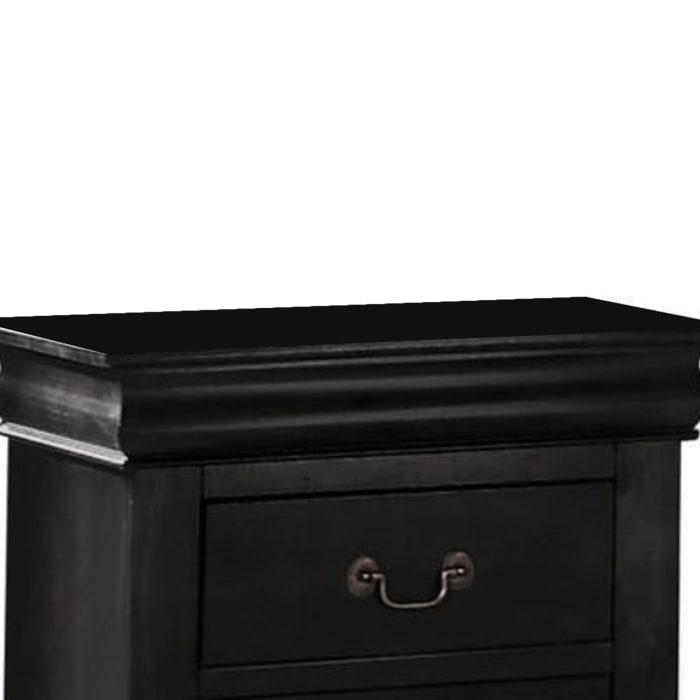 2-Drawer Wooden Black Nightstand
