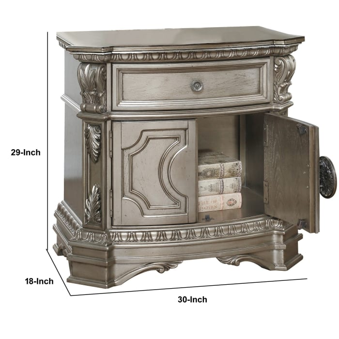 1-Drawer And Two Door Shelf Wood Top Antique Champagne Nightstand
