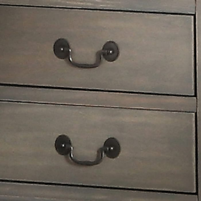 Antique Metal Handles 2-Drawer Wooden Gray Nightstand
