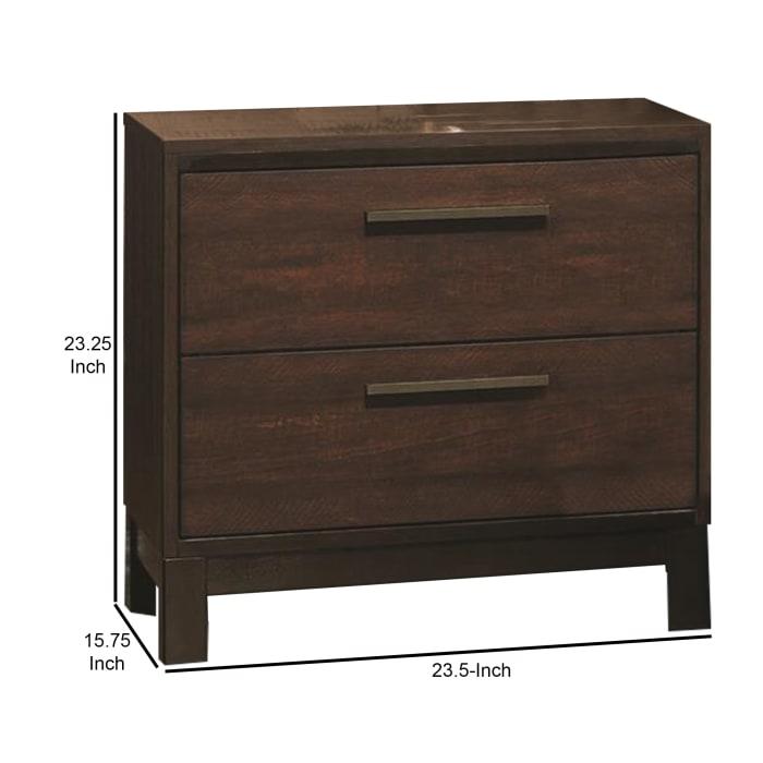 Metal Bar Handles 2-Drawer Wooden Brown Nightstand