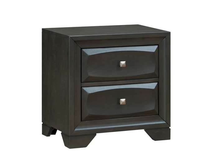 Transitional  Silver Tone Knob Drawers Solid Wood Antique Gray Nightstand