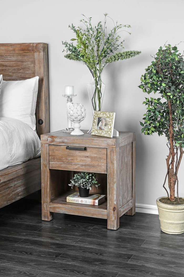 Transitional 1-Drawer Solid Wood Weathered Light Oak Brown Nightstand