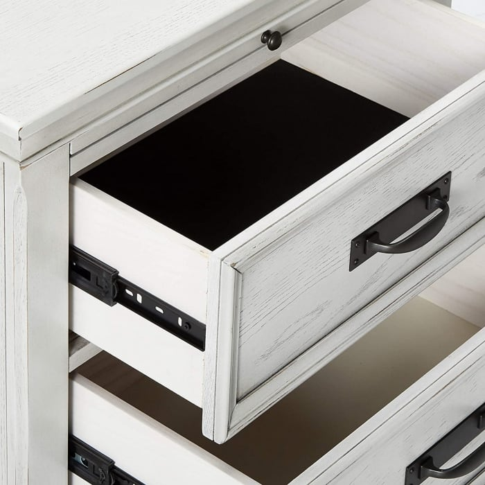 2-Drawer & 1 Pull Out Tray Wooden White Nightstand