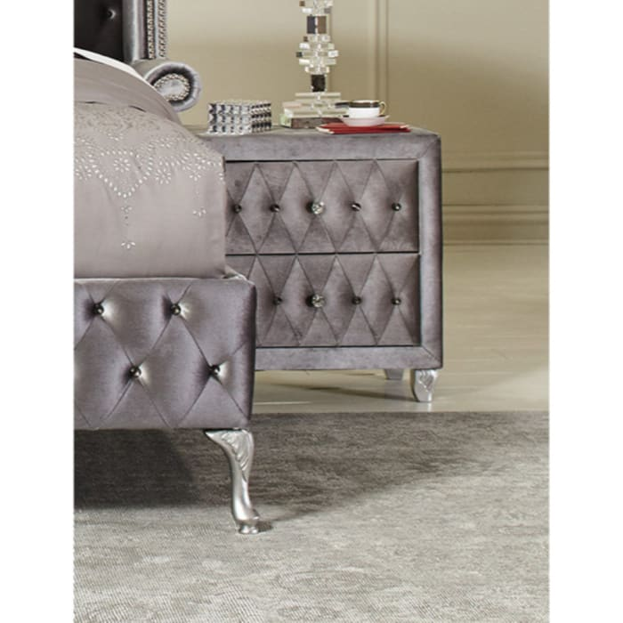 Button Tufting Fabric Upholstered Gray Nightstand