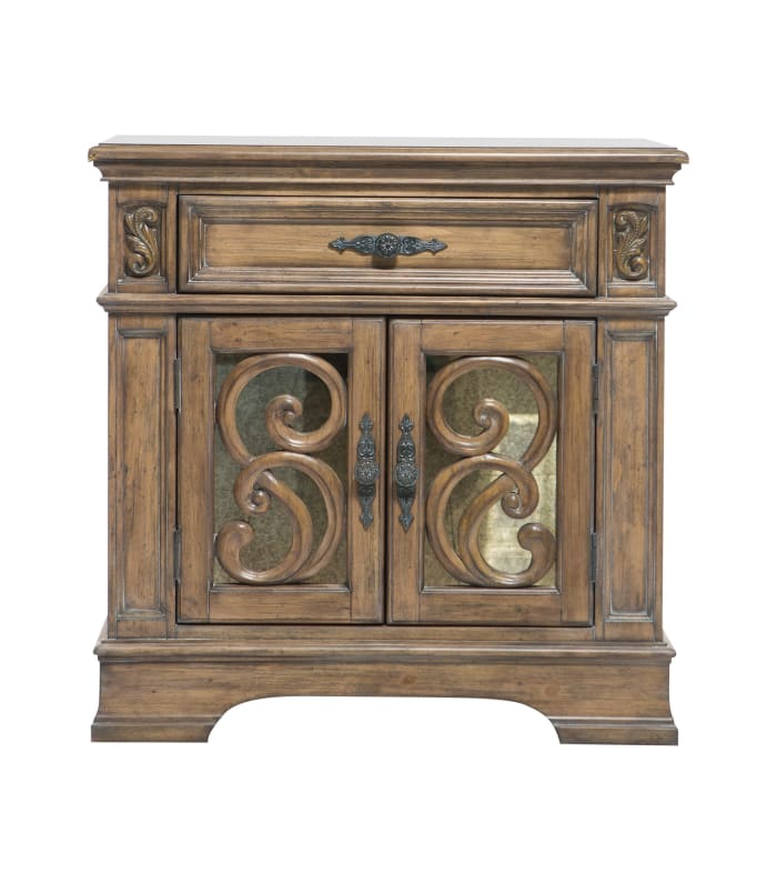 Intricate Carved Designs Wooden Brown Nightstand