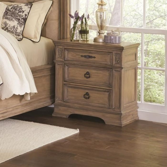 Carved Designs Wooden 3-Drawer Brown Nightstand