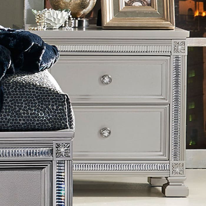 Contemporary 2-Drawer Wooden Silver Nightstand