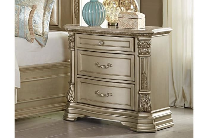 Marble Top 3-Drawer Wooden Champagne Gold Nightstand