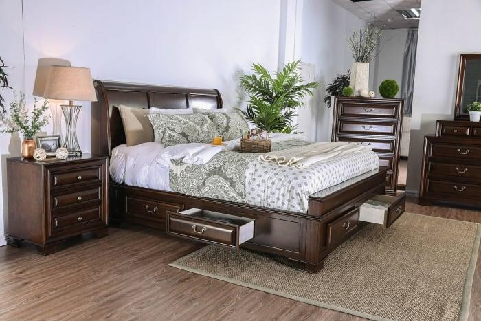 3-Drawers Wooden Cherry Brown Nightstand