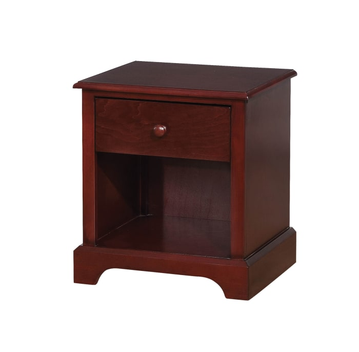 1-Drawer Wooden Cherry Brown with Open Shelf Nightstand