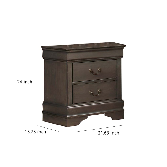 Wooden Stained Gray Nightstand