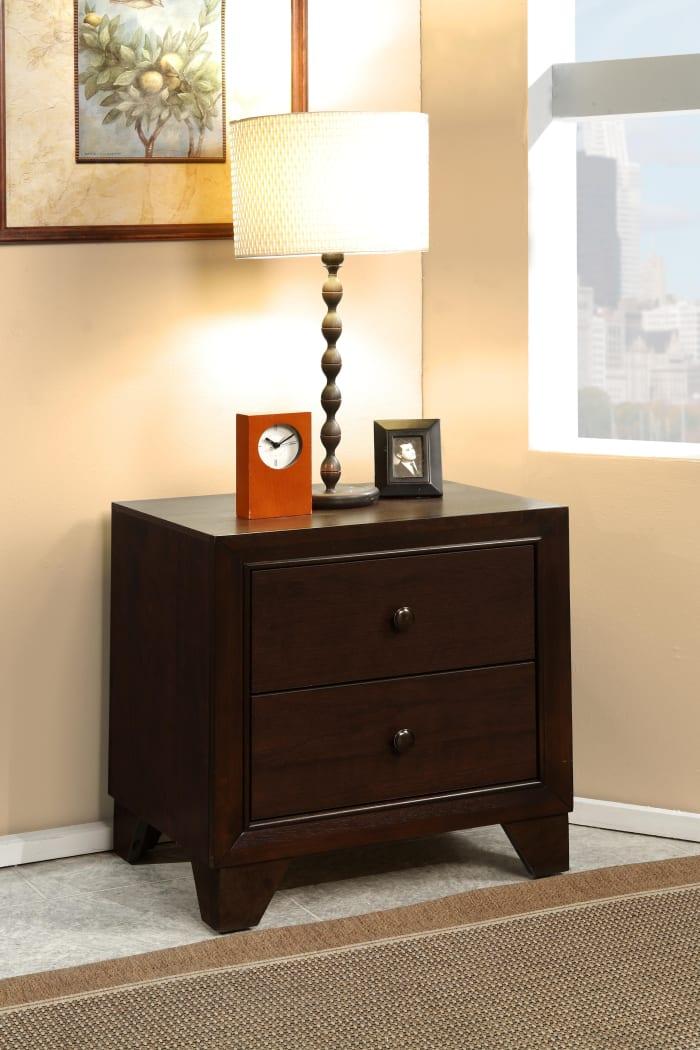 2-Drawers Wooden Espresso Brown Nightstand