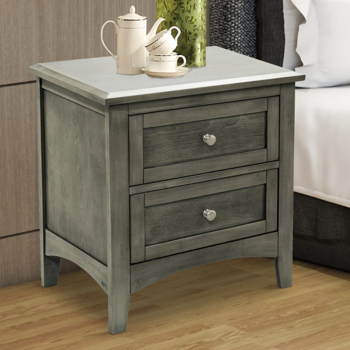 2-Drawers Wooden with Flared Legs Gray Nightstand