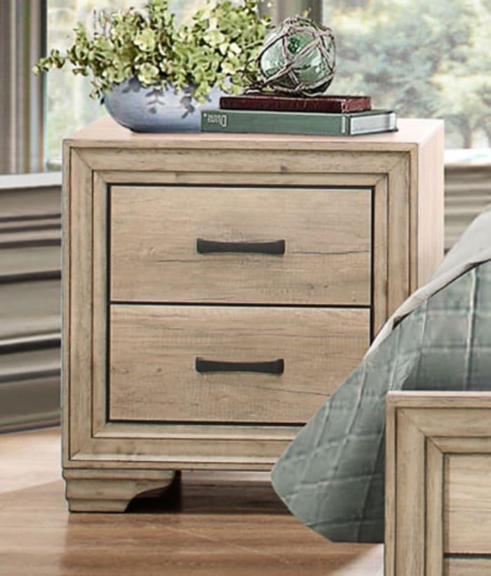 2-Drawers Wooden Brown Nightstand