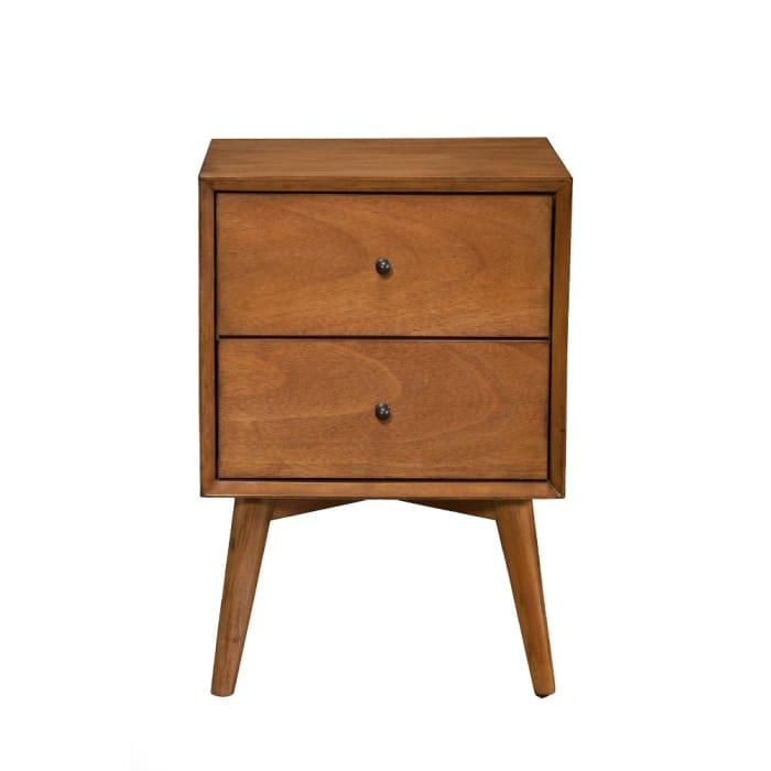 Mid Century Mahogany Wood Acron Nightstand