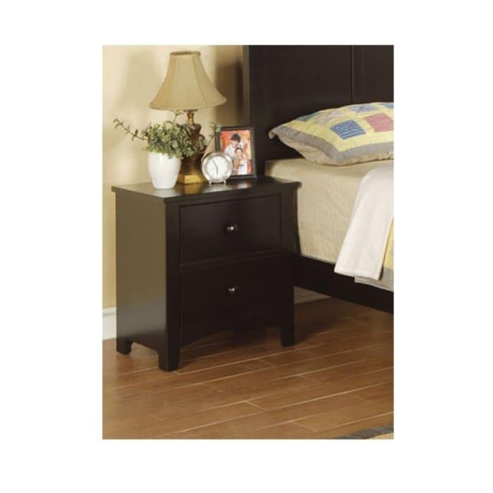 2-Drawers Pine Wood Black Nightstand