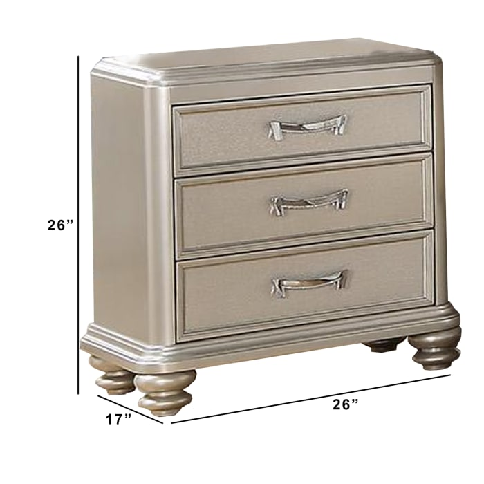 3-Drawers Wooden Silver with Bun Feet Nightstand