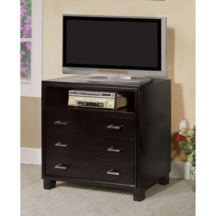 Espresso Brown 3-Drawers and 1-Open Shelve Contemporary Media Chest