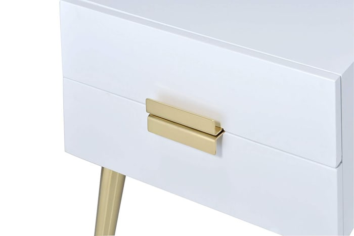 Denvor White & Gold Square with Drawers End Table