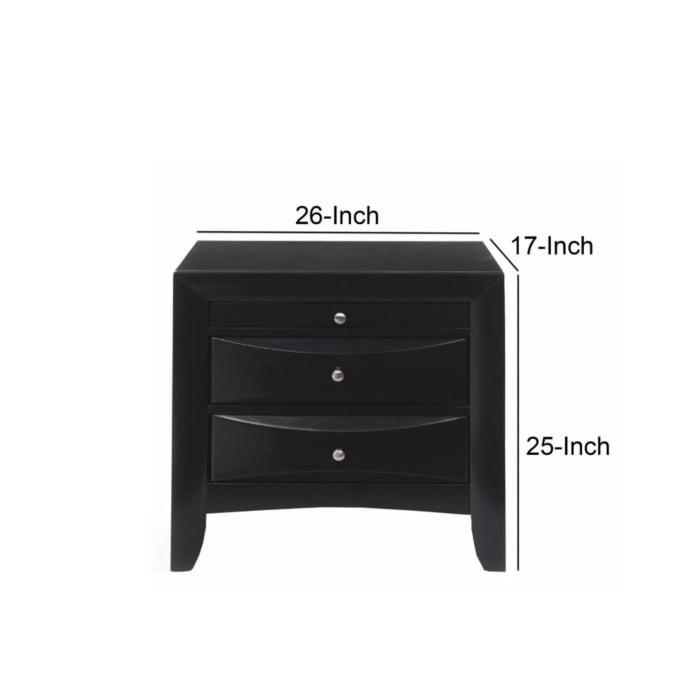 Ireland Contemporary 2-Drawer Wood Black Nightstand