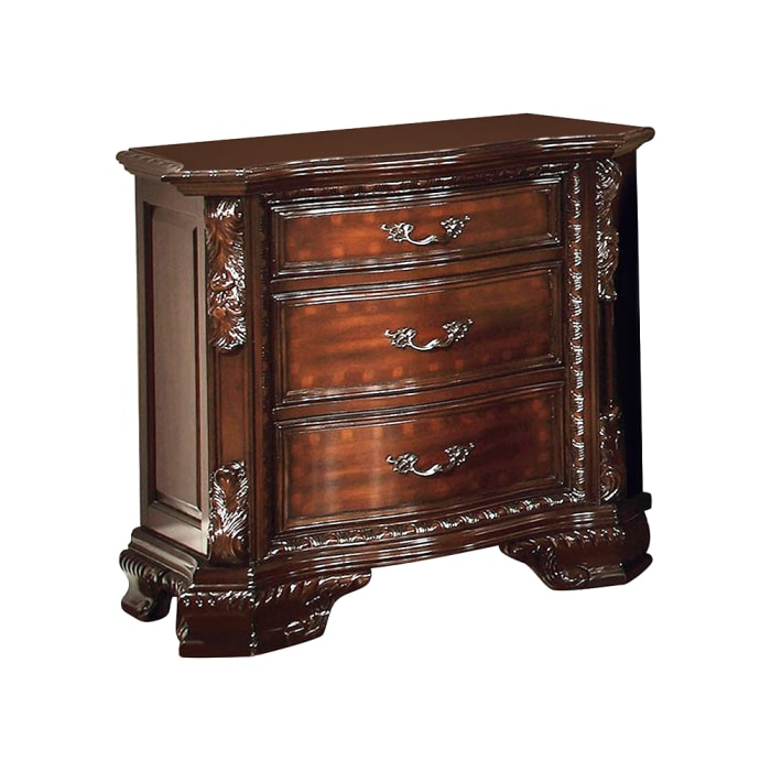 Carved and Molded Details 3-Drawer Wooden Brown Nightstand