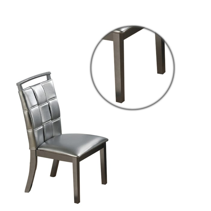 Faux Leather Dining Chair with Overlapping Square Pattern, Set of 2, Silver