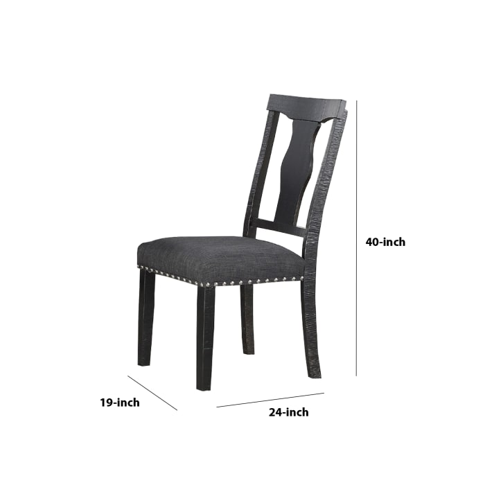 Wooden Dining Chair with Cut Out Design Open Back, Set of 2, Black