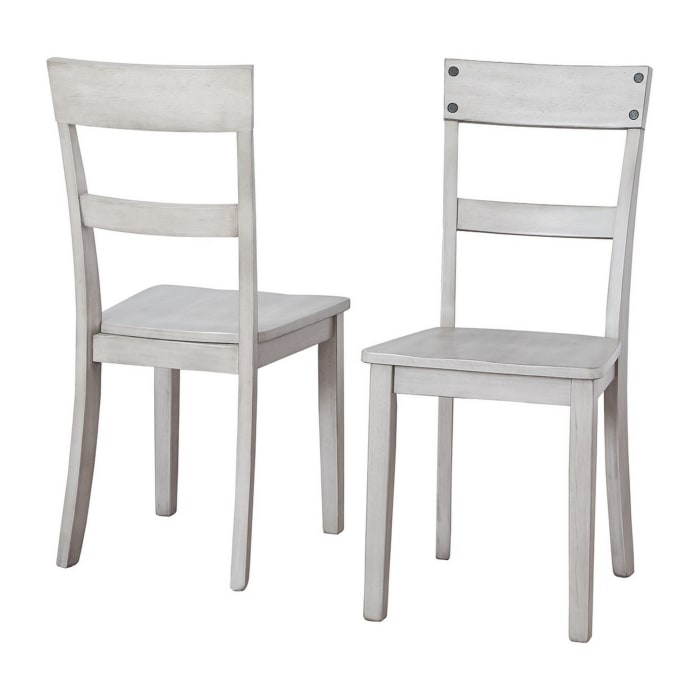 Nailhead Accent Side Chair with Cut Out Back, Set of 2, Gray