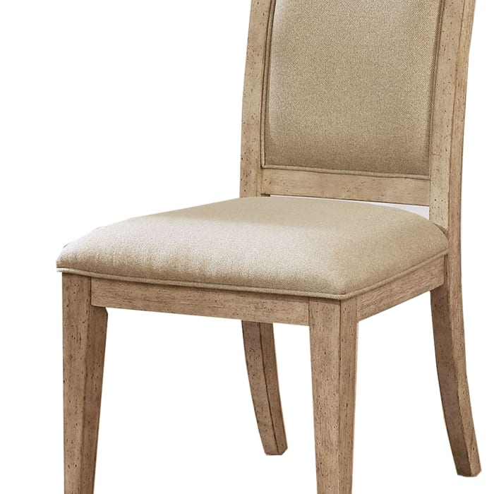 Wood and Fabric Side Chair, Set of 2, Brown and Beige