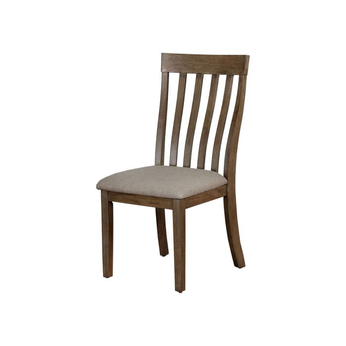 Contoured Slat Back Wood Side Chair, Set of 2, Taupe and Brown