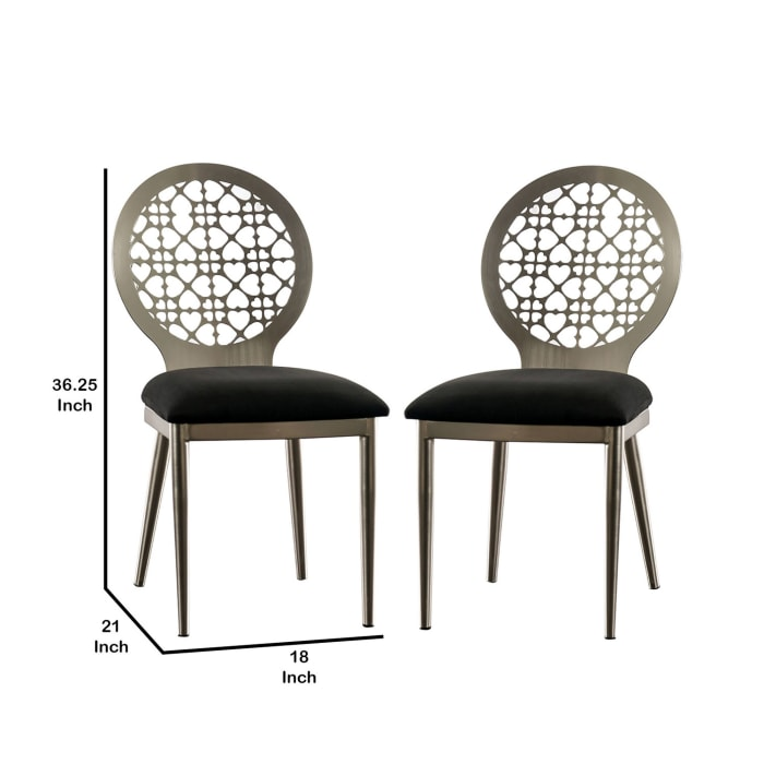 Padded Side Chair with Steel Frame, Set of 2, Silver and Black