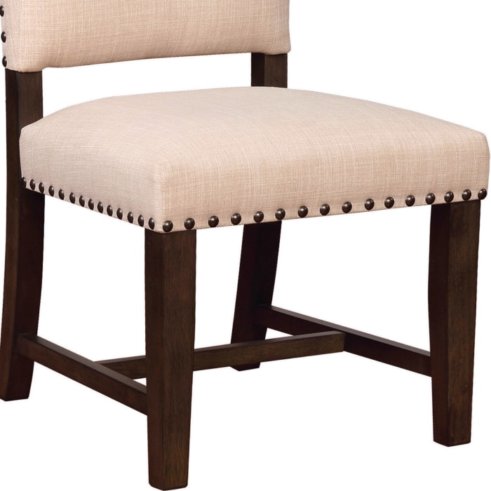 Nailhead Trim Fabric Side Chair with High Back, Set of 2, Beige