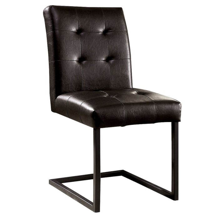 Tufted Leatherette Side Chair with Metal Cantilever Base, Set of 2, Brown