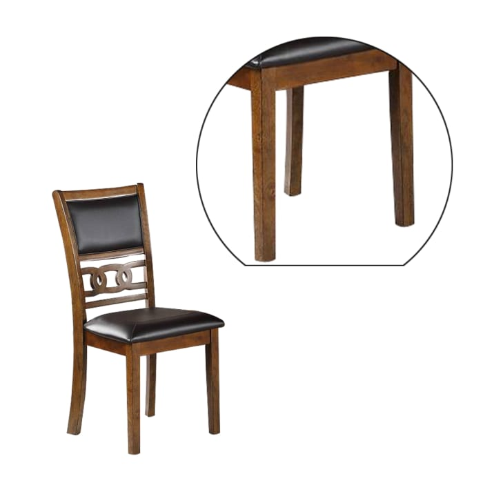 Leatherette Dining Chair with Knot Cut Out Back, Set of 2, Brown and Black