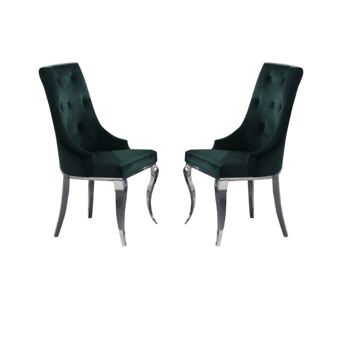 Button Tufted Back Arm Chair with Cabriole Legs, Set of 2, Green and Chrome