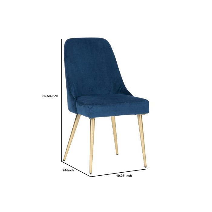 Fabric Upholstered Side Chair with Tapered Legs, Set of 2, Blue and Gold