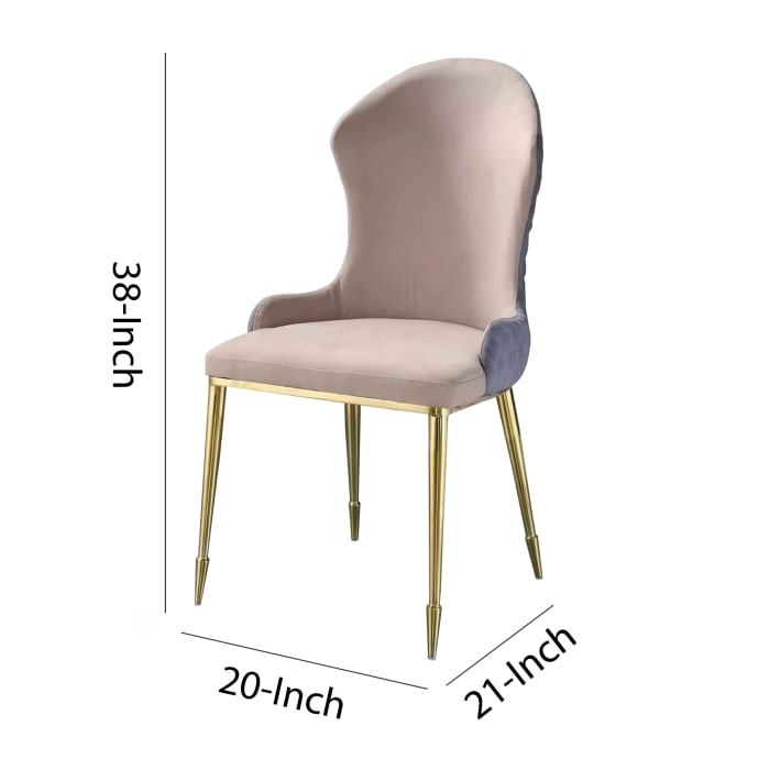 Fabric Upholstered Side Chair with Spindle Legs, Set of 2, Beige and Gold