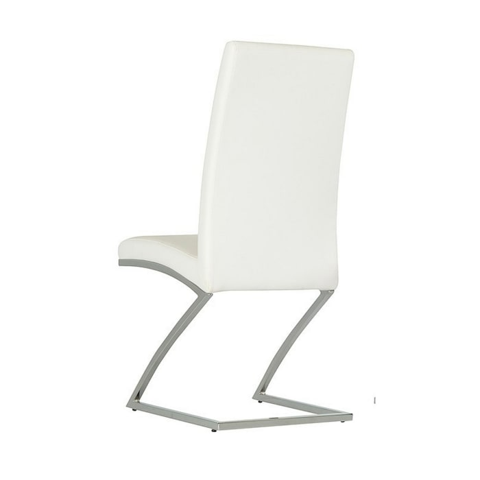Leatherette Dining Chair with Z Shape Metal Base, Set of 2, White and Chrome